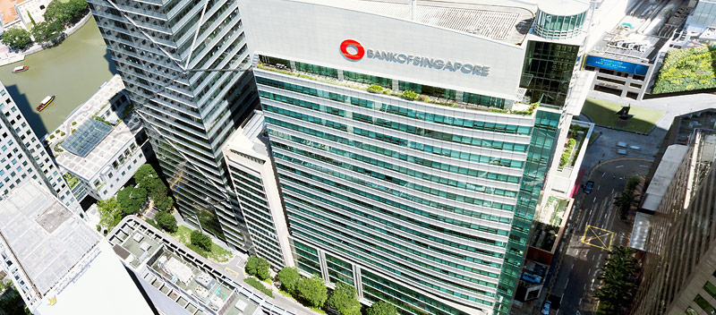 Aerial view of OCBC Centre and Singapore CBD skyline