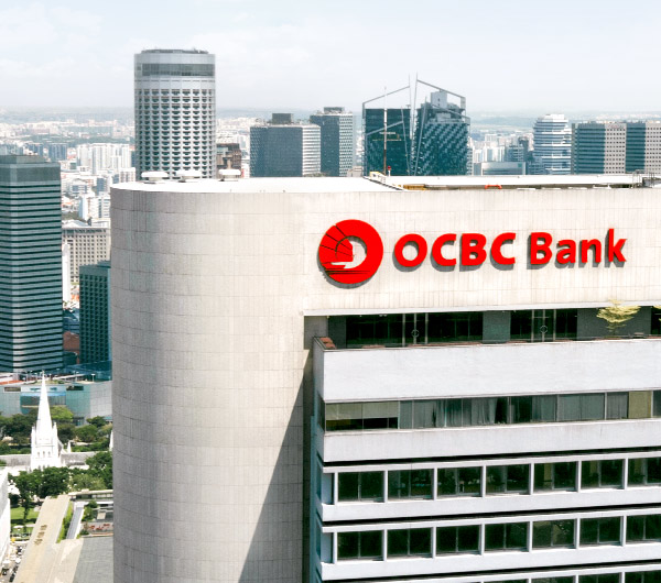 Close-up of OCBC Bank signage